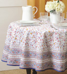 Provence Gentiane Coated Cotton Round Tablecloths - Blue/White