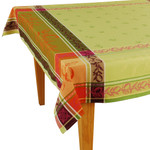 Jacquard Weave French Tablecloth - Citrus Green