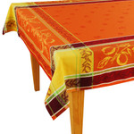Jacquard Weave French Tablecloth - Citrus Orange