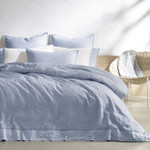 Kassatex Cartagena Linen Stitch Duvet Cover - White/Indigo