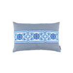 Lili Alessandra Oriental Chain Sm Rect Pillow - Blue Linen with White/Blue Embroidery