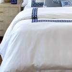 Lili Alessandra Kylie Duvet Cover - White Cotton Sateen / Ink Blue Embroidery