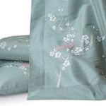 Lili Alessandra Chinoiserie Throw - Blue Venetian Silk / Silver Embroidery