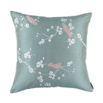 Lili Alessandra Chinoiserie Square Pillow - Blue Venetian Silk / Silver Embroidery