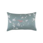 Lili Alessandra Chinoiserie Sm Rect Pillow - Blue Venetian Silk / Silver Embroidery