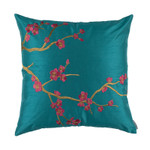 Lili Alessandra Ming Square Pillow - Peacock Venetian Silk / Gold Embroidery