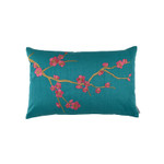 Lili Alessandra Ming Sm Rect Pillow - Peacock Venetian Silk / Gold Embroidery