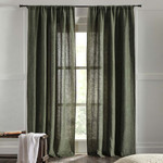 """Amity Home Bryce linen Curtain 96"""" - Kale"""