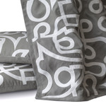 Lili Alessandra Geo Throw - Lt Grey Linen/White Matte Velvet Appliqué