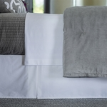 Lili Alessandra Aria Tailored Bed Skirt - White Matte Velvet