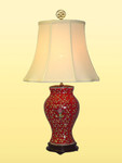 Bay Home and Linens Red Floral Vase Lamp