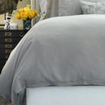 Lili Alessandra Bloom Double Flange Duvet - Lt Grey Linen