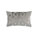 Lili Alessandra Angie Small Rectangle Pillow - Lt Grey Linen / Lt Grey Matte Velvet Appliqué