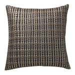 Orchids Lux Home Warren Basket Weave Deco Pillow - Silver