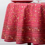 Provence Gentiane Coated Cotton Round Tablecloths - Red
