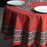 Provence Galon Coated Cotton Round Tablecloths - Red