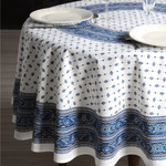 Provence Galon Coated Cotton Round Tablecloths - Blue/White