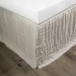 Amity Home Kent Linen Reversible Bed Skirt - White/Natural