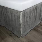 Amity Home Kent Linen Reversible Bed Skirt - Asphalt/Natural