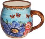 Boleslawiec Polish Pottery UNIKAT 16oz Bubble Coffee Mug - Blue Sky Meadow