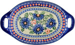 Boleslawiec Polish Pottery Oval Serving Dish with Handle - Patricia
