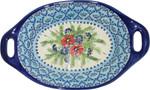 Boleslawiec Polish Pottery Oval Serving Dish with Handle - Veronica