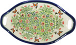 Boleslawiec Polish Pottery Oval Serving Dish with Handle - Spring