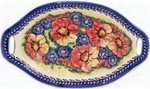 Boleslawiec Polish Pottery Oval Serving Dish with Handle - Flower Field