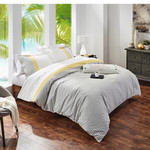 Orchids Lux Home Stripe Duvet Cover - Yellow/Grey