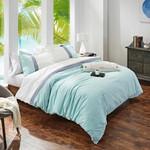 Orchids Lux Home Stripe Duvet Cover - Indigo/Turquoise