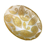 """Red Pomegranate Paisley 12"""" Oval Bowl - Clear/Gold"""