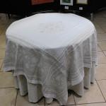 Jacquard  Weave Ochre Tablecloths - Ecru