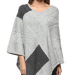 Darzzi Diamond Knitted Shawl - Gray Combo