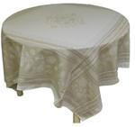 Jacquard Weave French Tablecloths - Ochre Ecru