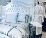 DownTown Company Madison Sheet Set - White w/Black Embroidery