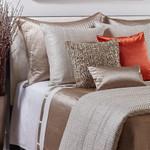 Ann Gish Cotton Sheet Set With Silk Bands - White/Sand