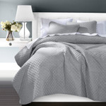 HiEnd Accents Anna Diamond Quilted Coverlet Set -Gray