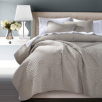 HiEnd Accents Anna Diamond Quilted Coverlet Set - Taupe