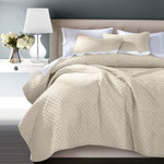 HiEnd Accents Anna Diamond Quilted Coverlet Set - Tan