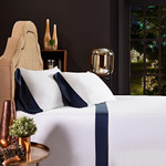 Orchids Lux Home Porto Sheet Set - White/Navy