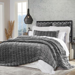 Orchids Lux Home Gatsby Quilt - Steel