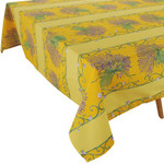 Provence Coated Cotton Tablecloths - Lavender Bunch Yellow