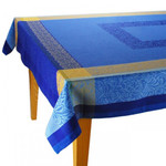 Jacquard Weave French Tablecloth - Bargeme Blue