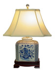 Blue/White Bird Flower Lamp