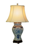 Blue/White Bird Flower Vase Lamp