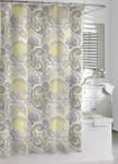 Kassatex Paisley Shower Curtain - Yellow / Grey
