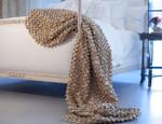 Lili Alessandra Ribbon Throw Blanket - Ecru