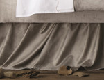 Lili Alessandra Chloe Silver Velvet Gathered Bedskirt