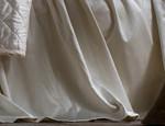 Lili Alessandra Chloe Ivory Velvet Gathered Bedskirt