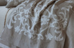 Lili Alessandra Louie Throw - Natural Linen/White Linen
